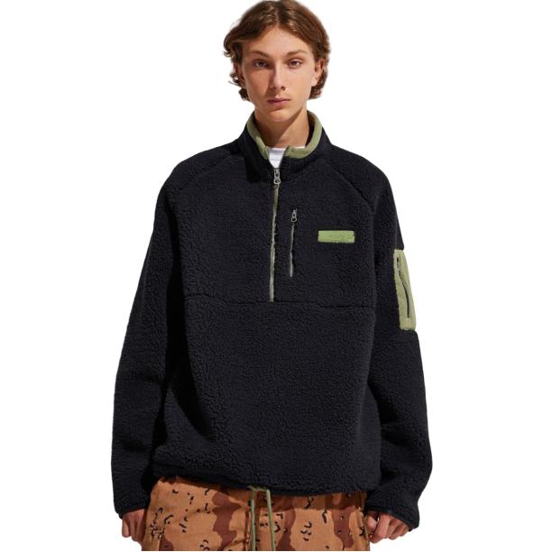 Fila 斐樂 Cozy Sherpa Half-Zip 黑色羊羔毛夾克