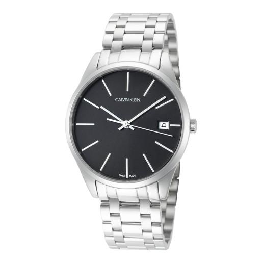 近期低價!Calvin Klein 卡爾文·克雷恩 Time 系列 銀黑色男士時裝腕表 K4N23141
