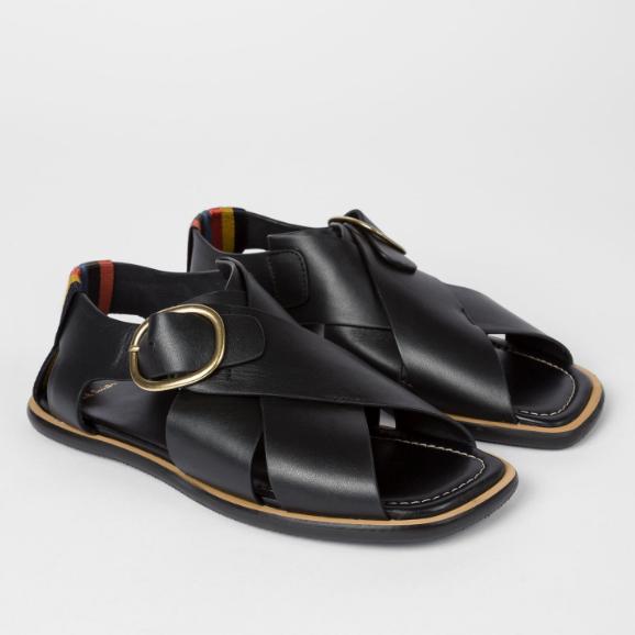Paul Smith Arrow 黑色皮革涼鞋