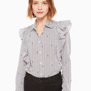 kate spade 美國官網 penguin ruffle 條紋襯衫