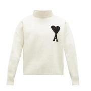AMI Ami de C?ur-intarsia 白色高領毛衣