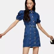 【7.5折】Topshop 修身短袖牛仔連衣裙