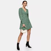 【7折】Topshop 綠色花卉連衣裙