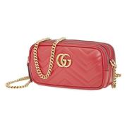 【額外6折】Gucci 古馳 Marmont 紅色迷你鏈條包