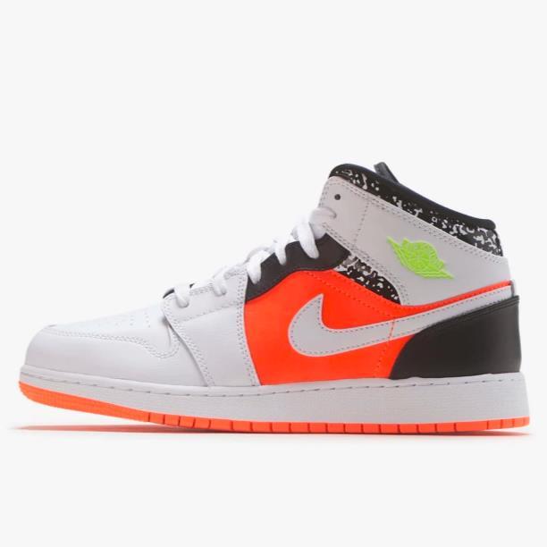 【新】喬丹 Air Jordan 1 Mid 大童款籃球鞋 橙黃鴛鴦