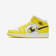 Air Jordan 1 Mid SE GS 黃色花卉運動鞋 大童款