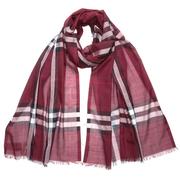 【額外立減$40】Burberry 博柏利 酒紅色格紋圍巾