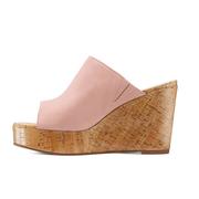 【私密6折】Stuart Weitzman 粉色麂皮坡跟涼鞋