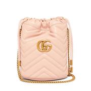 【經典款補貨】GUCCI 粉色 GG Marmont 水桶包