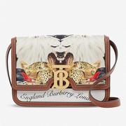 【僅限2個】BURBERRY 巴寶莉 TB 動物印花真絲和皮革斜挎包