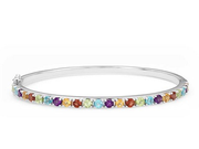 Multicolor Bangle Bracelet 五彩晶石純銀手鐲 $120