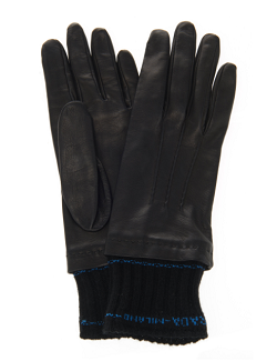 Prada Knit-Trimmed Nappa Leather Gloves
