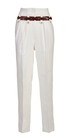 Giuliva Heritage Collection Belted High-Waisted Linen Pants