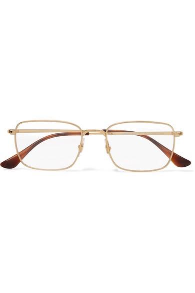 RAY-BAN 金色金屬方框光學眼鏡