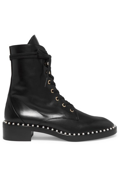 STUART WEITZMAN Sondra 人造珍珠綴飾皮革踝靴