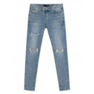 [朴宝剑明星原款]个性大破损水洗男士修身小脚牛仔裤_蓝色