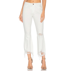 时尚小众品牌 DL1961 白色紧身破洞九分牛仔裤