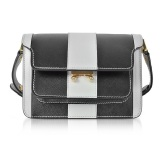 Marni Pelican and Black Striped Saffiano 迷你风琴包