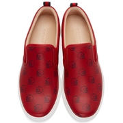 Gucci Red Gucci Ghost Dublin Slip-On Sneakers 男款真皮一脚蹬休闲鞋