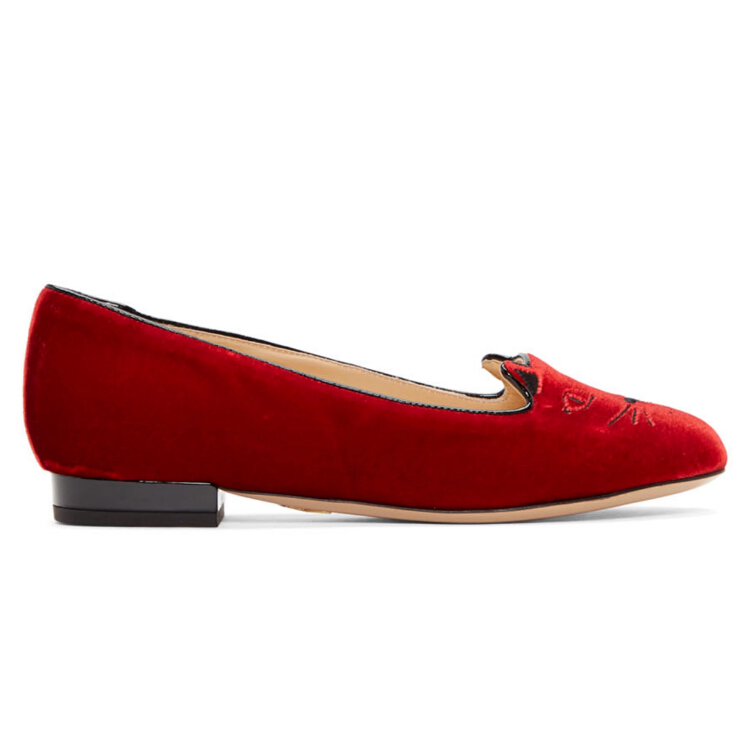 Charlotte Olympia  Red Velvet Kitty Flats 红色天鹅绒款猫头鞋