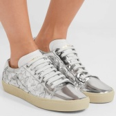 Saint Laurent 圣罗兰 Court Classic appliquéd metallic 女士真皮运动鞋