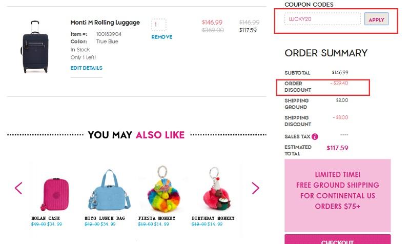 额外8折!Kipling 美国官网:精选折扣区猴子美包、托特包、拉杆箱等 低至4折+额外8折