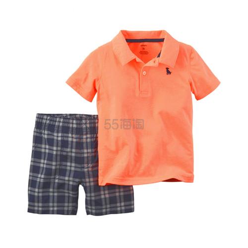 Carter's 卡特 2件套 短袖 POLO + 短裤 全棉男婴儿童装 48元