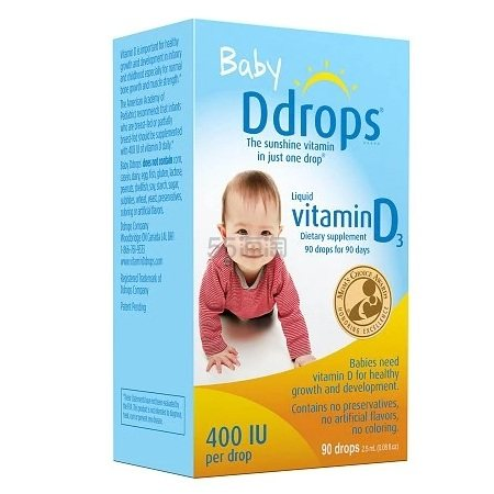 Ddrops 婴儿维生素D3滴剂2.5ml  .59(约98元)