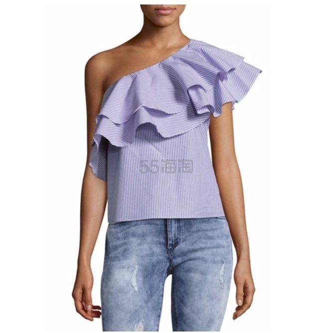 【凑单佳品!】Saks Fifth Avenue BLACK 第五大道 荷叶边斜肩条纹上衣 $37.49(约272元)