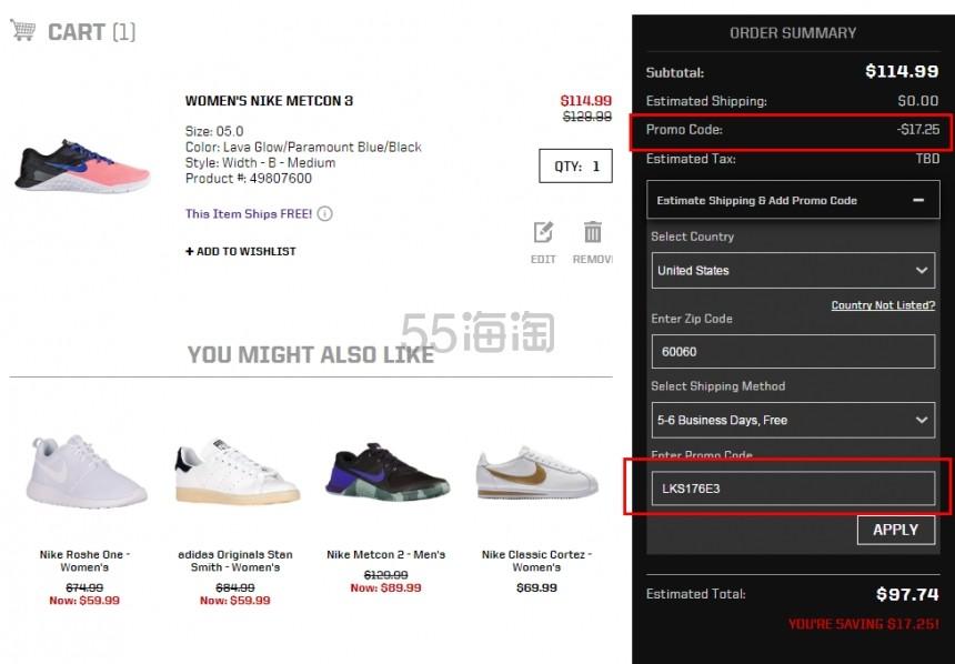 健身的你不能错过 Nike 耐克 Metcon 3 女士运动鞋 .74(约708元)