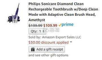 低价!【美亚直邮】Philips 飞利浦 Sonicare Diamond Clean 紫钻声波震动电动牙刷 9.99(约797元)