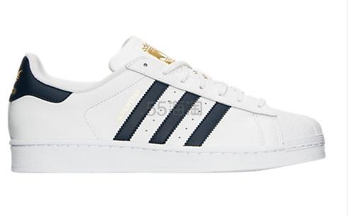 """码数齐全 Adidas Originals 三叶草""""superstar"""" 男士运动鞋 蓝色金标 $59.98(约434元)"""