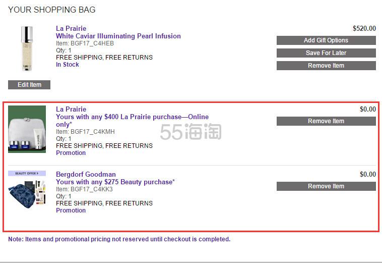 Bergdorf Goodman :La Prairie 护肤品满5送礼包+满0送品牌礼包