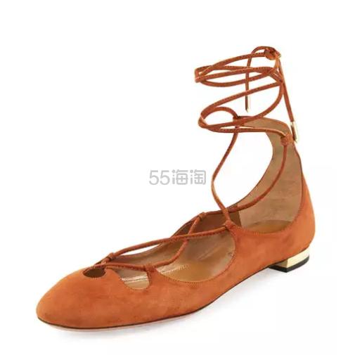 直降500刀 Aquazzura 绒面绑带平底鞋 棕色 3(约1470元)