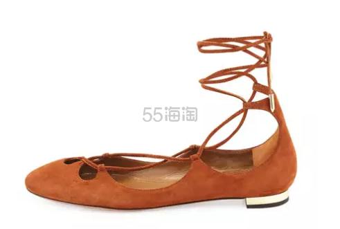 直降500刀 Aquazzura 绒面绑带平底鞋 棕色 $203(约1470元)