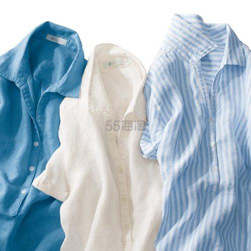 BELLE MAISON DAYS 千趣会 100%麻 夏季短袖衬衣 3990日元(约239元)