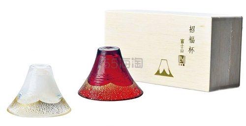 【中亚Prime会员】日本匠人手工制:富士山 招福 双层玻璃 对杯套装 白金&金茜色 到手价311元