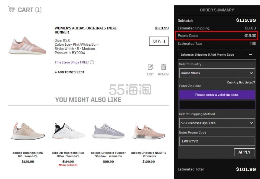 和6叔穿情侣款 Adidas Originals 三叶草 Iniki Runner 系列 女士休闲鞋 粉色 1.99(约739元)