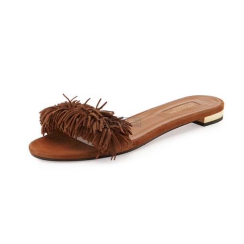 36.5码就这么一双,你收么?Aquazzura 2017新款系列 Wild Thing 流苏平底凉鞋 $237(约1717元)