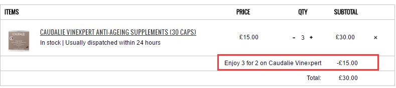 买3付2!Caudalie 欧缇丽葡萄籽胶囊 30粒 £10.05(约88元)
