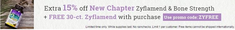 Vitacost:New Chapter 新章 营养保健品,额外8.5折+送30片小瓶装Zyflamend 草本抗炎胶囊