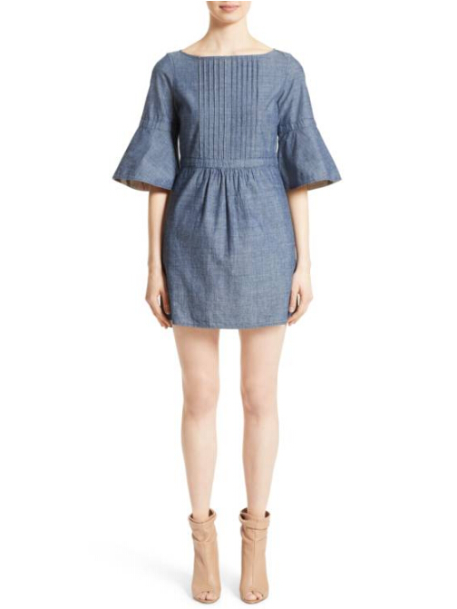 【明星同款】赵薇同款 Burberry Michelle Bell Sleeve Chambray Dress 牛仔连衣裙 $495(约3551元)