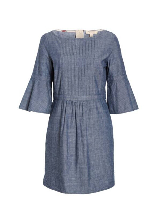 【明星同款】赵薇同款 Burberry Michelle Bell Sleeve Chambray Dress 牛仔连衣裙 5(约3551元)