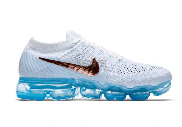 首次降价啦 Nike 耐克 Air VaporMax Flyknit 2017年秋季新品 女士运动鞋 蓝白金 5(约1268元)