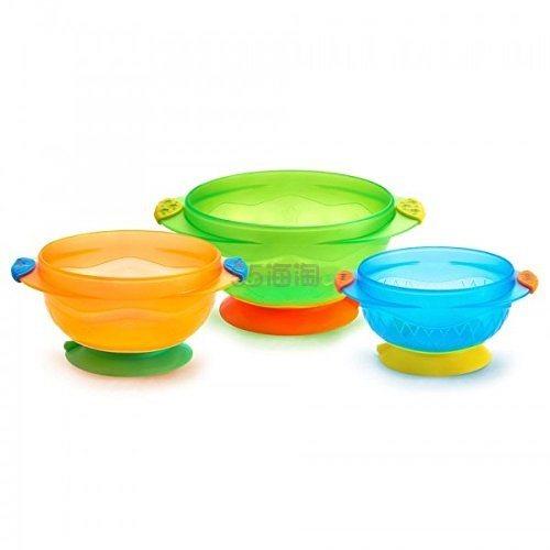总算有货了!【中亚Prime会员】Munchkin 满趣健 婴儿防摔辅食吸盘碗3个装
