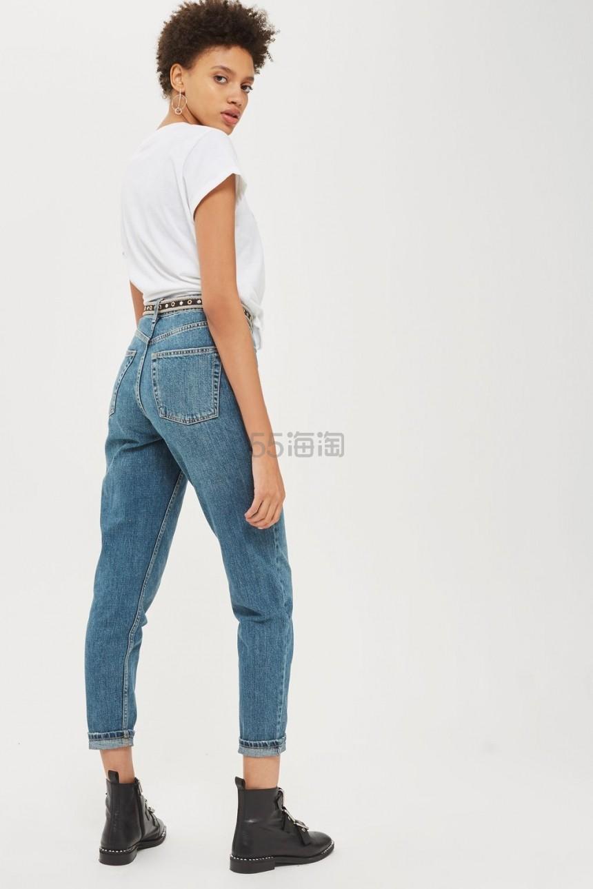 上新!Topshop Authentic Blue Green Mom 高腰宽松直筒复古牛仔裤