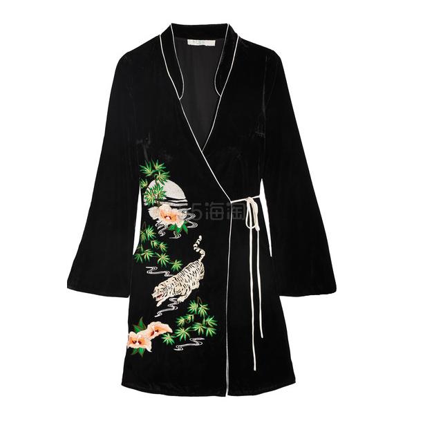 Rixo London Iris 东方风情天鹅绒刺绣连衣裙