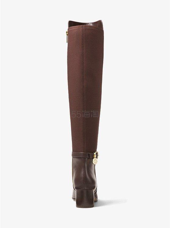 码全!MICHAEL Michael Kors Aileen 女士真皮拼接粗跟长靴 棕/黑色