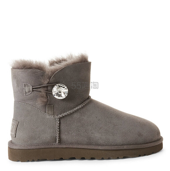 UGG mini Bailey Button Bling Boots 灰色短裤雪地靴