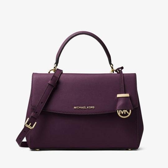 【Spring 限时返利3天】Michael Kors 中号 Ava 经典款十字纹皮手提包 紫色